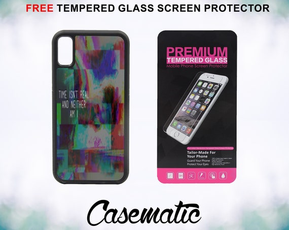 Time isn't real Abstract Case With FREE Tempered Glass Screen Protector For iPhone 8 iPhone 8 Plus iPhone 7 iPhone 7 Plus iPhone X