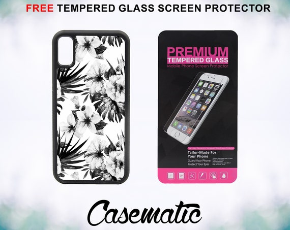 Black and White Hibiscus Case With FREE Tempered Glass Screen Protector For iPhone 8 iPhone 8 Plus iPhone 7 iPhone 7 Plus iPhone X