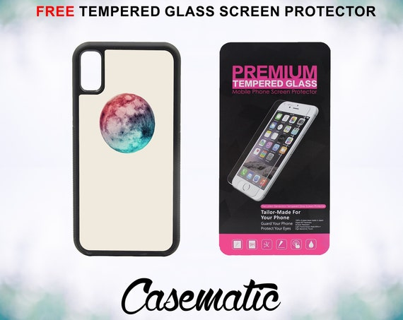 Colorful Moon Case With FREE Tempered Glass Screen Protector For iPhone 8 iPhone 8 Plus iPhone 7 iPhone 7 Plus iPhone X