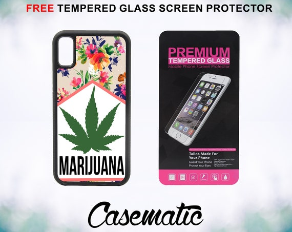 Mary Jane Marijuana Cigarette Case With FREE Tempered Glass Screen Protector For iPhone 8 iPhone 8 Plus iPhone 7 iPhone 7 Plus iPhone X