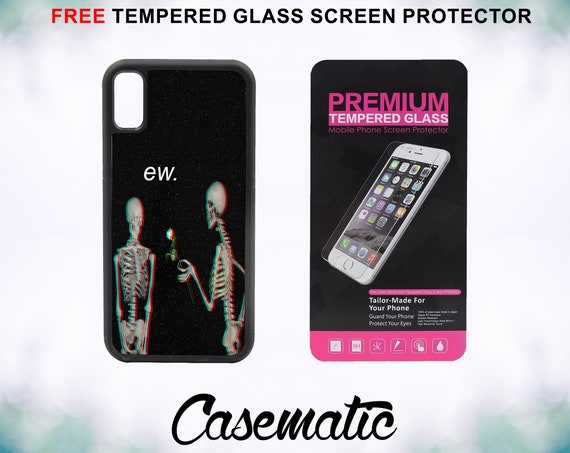 Ew Skeleton Love Case With FREE Tempered Glass Screen Protector For iPhone 8 iPhone 8 Plus iPhone 7 iPhone 7 Plus iPhone X