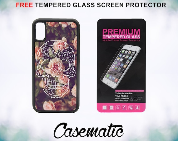 Sugar Skull on Vintage Floral Case With FREE Tempered Glass Screen Protector For iPhone 8 iPhone 8 Plus iPhone 7 iPhone 7 Plus iPhone X