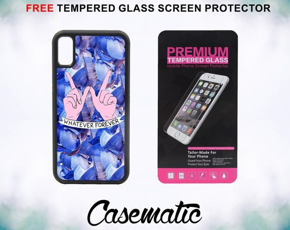 Whatever Symbol Case With FREE Tempered Glass Screen Protector For iPhone 8 iPhone 8 Plus iPhone 7 iPhone 7 Plus iPhone X