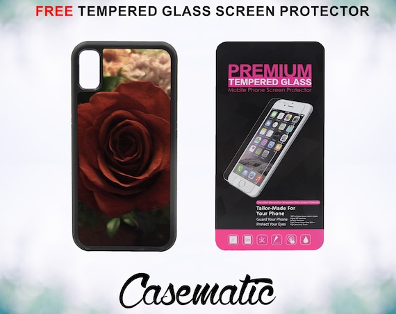 Beautiful Bloom Red Rose Case With FREE Tempered Glass Screen Protector For iPhone 8 iPhone 8 Plus iPhone 7 iPhone 7 Plus iPhone X