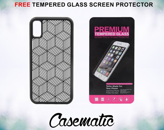Geometric Squares Case With FREE Tempered Glass Screen Protector For iPhone 8 iPhone 8 Plus iPhone 7 iPhone 7 Plus iPhone X