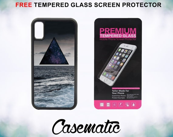 Hipster Triangle Ocean Case With FREE Tempered Glass Screen Protector For iPhone 8 iPhone 8 Plus iPhone 7 iPhone 7 Plus iPhone X