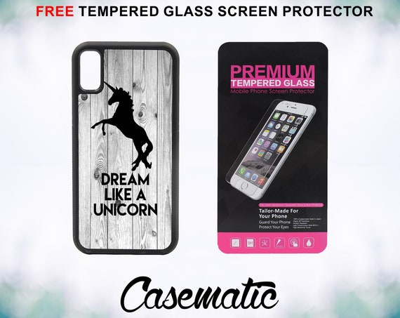 Dream Like A Unicorn on Wood Case With FREE Tempered Glass Screen Protector For iPhone 8 iPhone 8 Plus iPhone 7 iPhone 7 Plus iPhone 6/6s