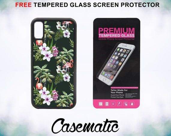 Flamingo Palm Trees With FREE Tempered Glass Screen Protector For iPhone 8 iPhone 8 Plus iPhone 7 iPhone 7 Plus iPhone X