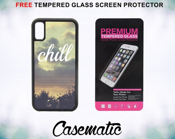 Chill Quote Case With FREE Tempered Glass Screen Protector For iPhone 8 iPhone 8 Plus iPhone 7 iPhone 7 Plus iPhone X