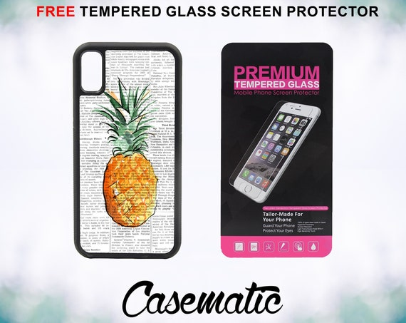 Pineapple on Newspaper Case With FREE Tempered Glass Screen Protector For iPhone 8 iPhone 8 Plus iPhone 7 iPhone 7 Plus iPhone X