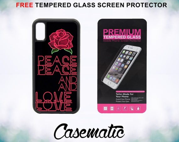 Peace And Love Case With FREE Tempered Glass Screen Protector For iPhone 8 iPhone 8 Plus iPhone 7 iPhone 7 Plus iPhone X