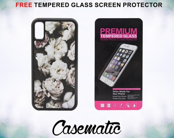 Cute Vintage Floral Case With FREE Tempered Glass Screen Protector For iPhone 8 iPhone 8 Plus iPhone 7 iPhone 7 Plus iPhone X