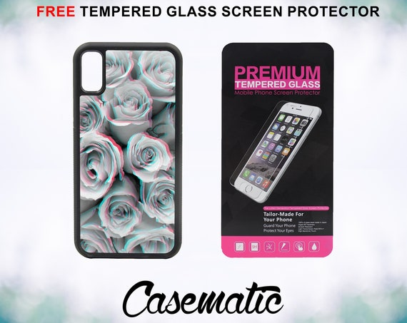 Trippy Floral Trendy Art Case With FREE Tempered Glass Screen Protector For iPhone 8 iPhone 8 Plus iPhone 7 iPhone 7 Plus iPhone X
