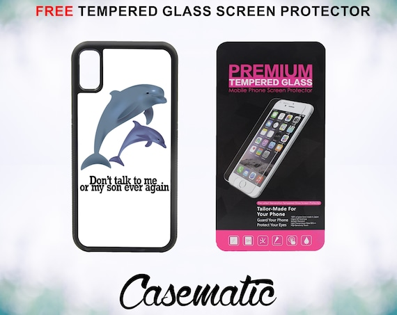 Funny Dolphin Quote Case With FREE Tempered Glass Screen Protector For iPhone 8 iPhone 8 Plus iPhone 7 iPhone 7 Plus iPhone X