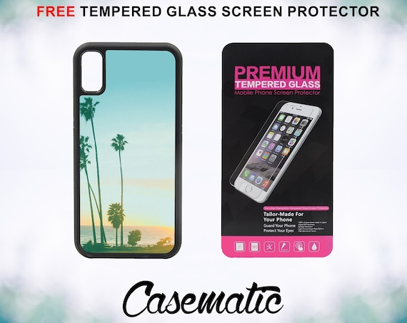 Retro California Beach Case With FREE Tempered Glass Screen Protector For iPhone 8 iPhone 8 Plus iPhone 7 iPhone 7 Plus iPhone X
