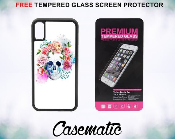Skull Floral Painting Case With FREE Tempered Glass Screen Protector For iPhone 8 iPhone 8 Plus iPhone 7 iPhone 7 Plus iPhone X
