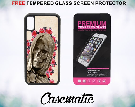 Floral La Santa Muerte Case With FREE Tempered Glass Screen Protector For iPhone 8 iPhone 8 Plus iPhone 7 iPhone 7 Plus iPhone X