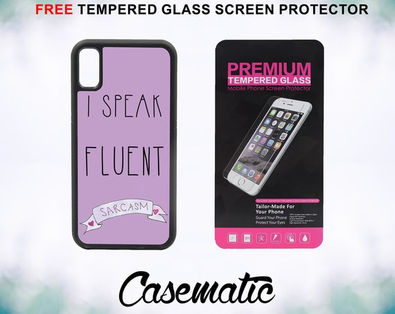 I Speak Fluent Sarcasm Case With FREE Tempered Glass Screen Protector For iPhone 8 iPhone 8 Plus iPhone 7 iPhone 7 Plus iPhone X