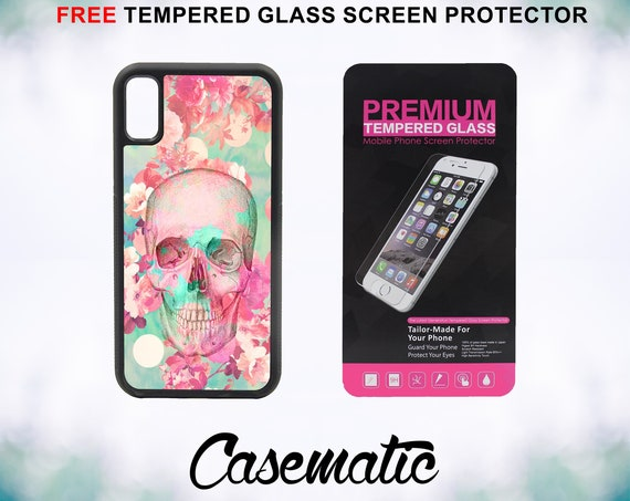 Beautiful Flowers Skull Case With FREE Tempered Glass Screen Protector For iPhone 8 iPhone 8 Plus iPhone 7 iPhone 7 Plus iPhone X