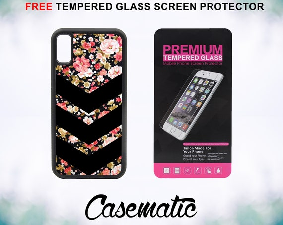 Chevron Floral Pattern Case With FREE Tempered Glass Screen Protector For iPhone 8 iPhone 8 Plus iPhone 7 iPhone 7 Plus iPhone X