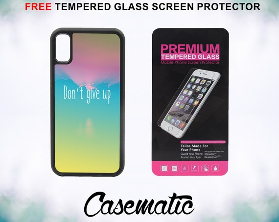 Don't Give Up Case With FREE Tempered Glass Screen Protector For iPhone 8 iPhone 8 Plus iPhone 7 iPhone 7 Plus iPhone X