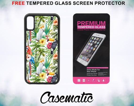 Tropical Birds Case With FREE Tempered Glass Screen Protector For iPhone 8 iPhone 8 Plus iPhone 7 iPhone 7 Plus iPhone X