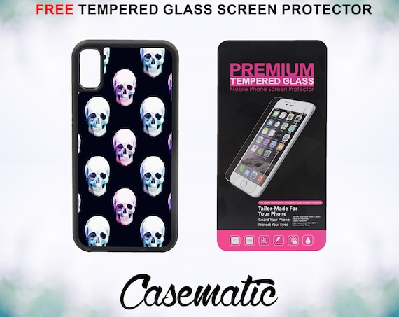 Trendy Skull Case With FREE Tempered Glass Screen Protector For iPhone 8 iPhone 8 Plus iPhone 7 iPhone 7 Plus iPhone X