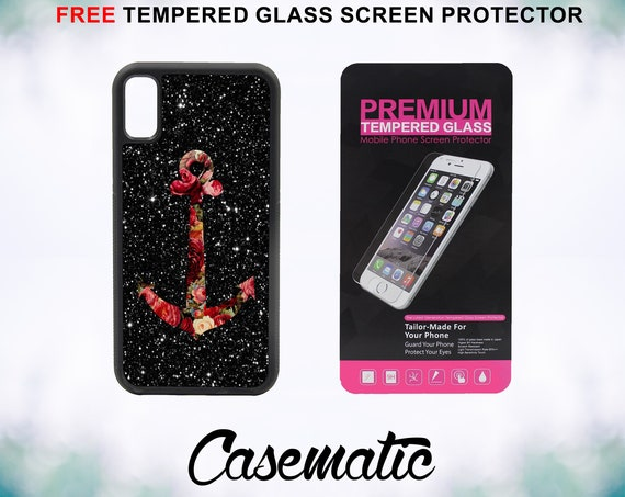 Roses Anchor In Space Case With FREE Tempered Glass Screen Protector For iPhone 8 iPhone 8 Plus iPhone 7 iPhone 7 Plus iPhone X