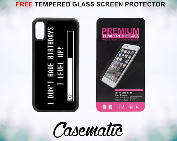 No Birthdays Just Lvl Up Case With FREE Tempered Glass Screen Protector For iPhone 8 iPhone 8 Plus iPhone 7 iPhone 7 Plus iPhone X