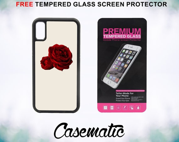 Red Roses Case With FREE Tempered Glass Screen Protector For iPhone 8 iPhone 8 Plus iPhone 7 iPhone 7 Plus iPhone X