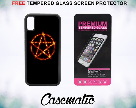 Flaming Pentagram Case With FREE Tempered Glass Screen Protector For iPhone 8 iPhone 8 Plus iPhone 7 iPhone 7 Plus iPhone X