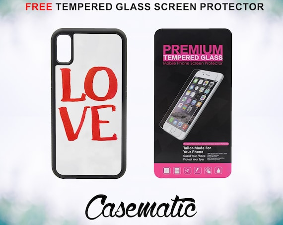 Inspirational Love Case With FREE Tempered Glass Screen Protector For iPhone 8 iPhone 8 Plus iPhone 7 iPhone 7 Plus iPhone X