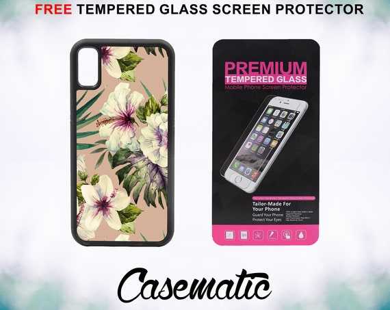 Hibiscus Painting Case With FREE Tempered Glass Screen Protector For iPhone 8 iPhone 8 Plus iPhone 7 iPhone 7 Plus iPhone X