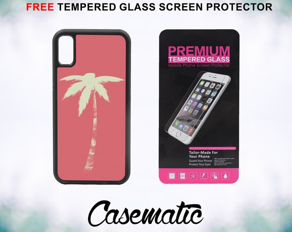 Retro Palm Tree Case With FREE Tempered Glass Screen Protector For iPhone 8 iPhone 8 Plus iPhone 7 iPhone 7 Plus iPhone X