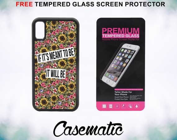 Floral Meant To Be Quote Case With FREE Tempered Glass Screen Protector For iPhone 8 iPhone 8 Plus iPhone 7 iPhone 7 Plus iPhone X