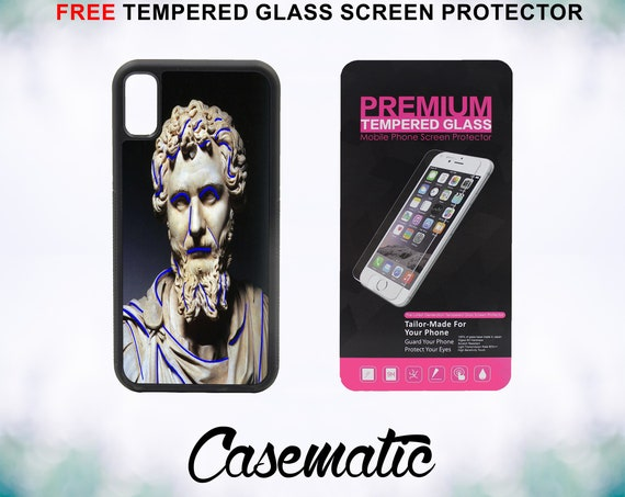 SeaPunk Sculpture Case With FREE Tempered Glass Screen Protector For iPhone 8 iPhone 8 Plus iPhone 7 iPhone 7 Plus iPhone X