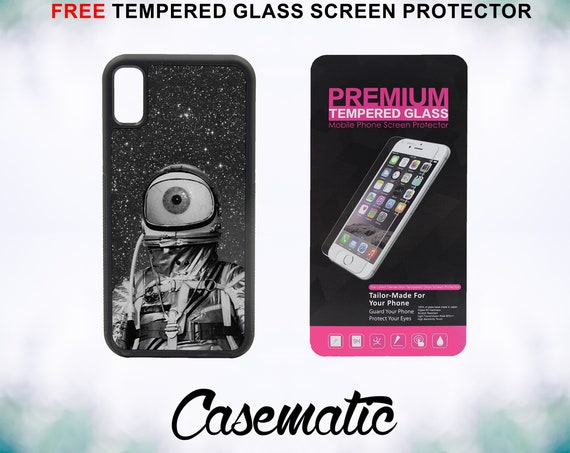 Eyeball Astronaut Space Case With FREE Tempered Glass Screen Protector For iPhone 8 iPhone 8 Plus iPhone 7 iPhone 7 Plus iPhone X