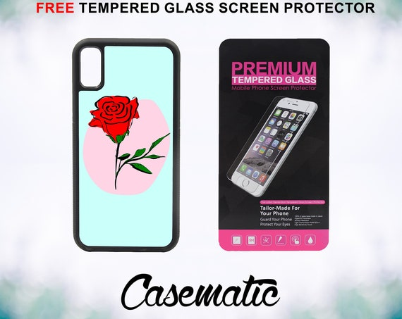 Cute Red Rose Case With FREE Tempered Glass Screen Protector For iPhone 8 iPhone 8 Plus iPhone 7 iPhone 7 Plus iPhone X