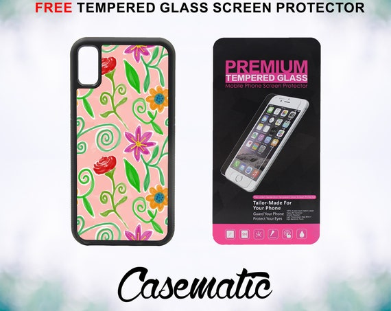 Floral Watercolor Case With FREE Tempered Glass Screen Protector For iPhone 8 iPhone 8 Plus iPhone 7 iPhone 7 Plus iPhone X