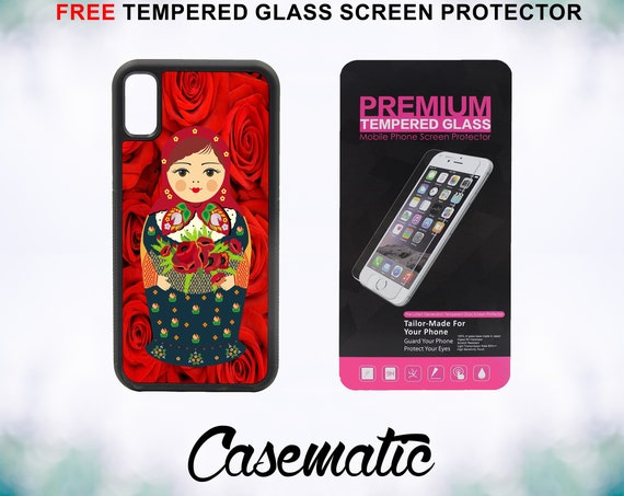 Flower Lady Russian Doll Case With FREE Tempered Glass Screen Protector For iPhone 8 iPhone 8 Plus iPhone 7 iPhone 7 Plus iPhone X