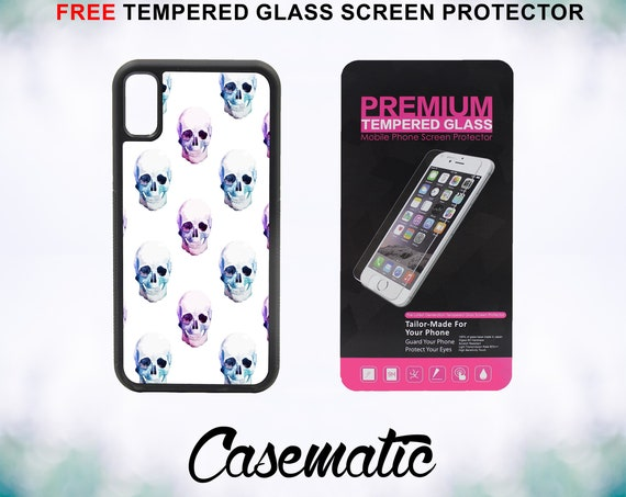 Colorful Skull Case With FREE Tempered Glass Screen Protector For iPhone 8 iPhone 8 Plus iPhone 7 iPhone 7 Plus iPhone X
