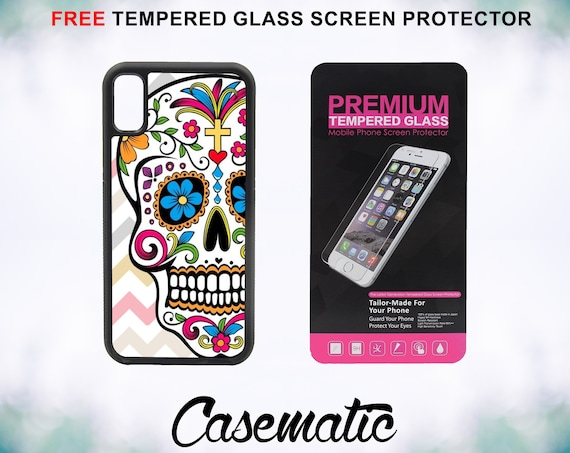 Day Of The Dead Pink Chevron Sugar Skull iPhone Case for iPhone XR XS Max X 8 Plus 8 7 Plus 7 6 Plus 6 6s SE 5S 5c 4 4s Screen Protector