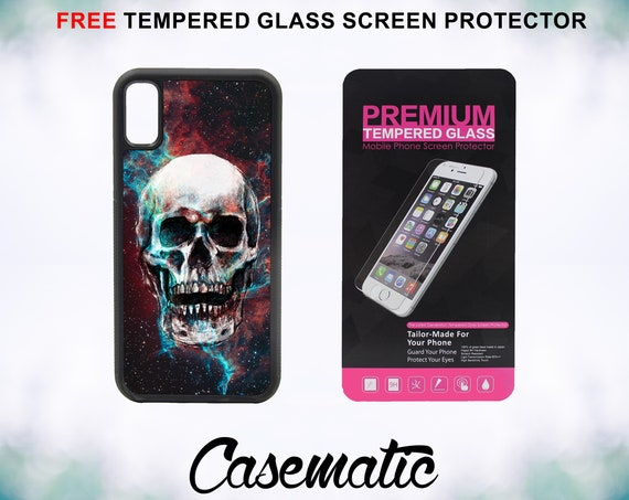 Nebula Galaxy Laughing Skull iPhone Case for iPhone XR XS Max X 8 Plus 8 7 Plus 7 6 Plus 6 6s SE 5S 5c 4 4s Tempered Glass Screen Protector