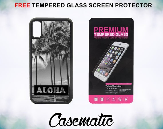 Aloha Hawaii Island iPhone XR Xs Max X 8 Plus 8 7 Plus 7 6 Plus 6 6s SE 5S 5c 4 Free Tempered Glass Screen Protector iPhone XR Vintage Retro