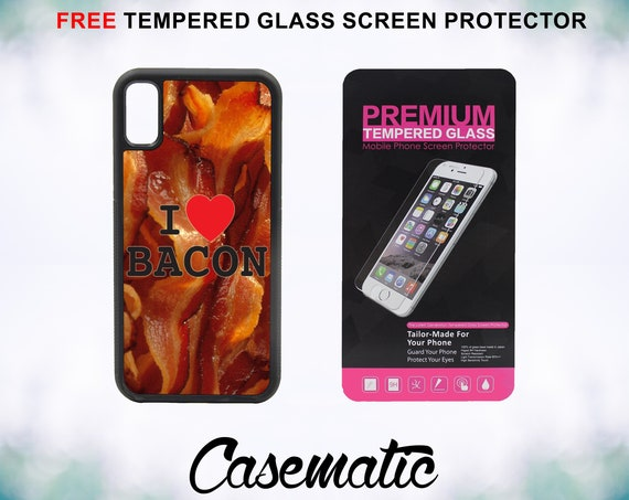 I Love Bacon iPhone Case for iPhone XR XS Max X 8 Plus 8 7 Plus 7 6 Plus 6 6s SE 5S 5c 4 4s Tempered Glass Screen Protector I heart Bacon