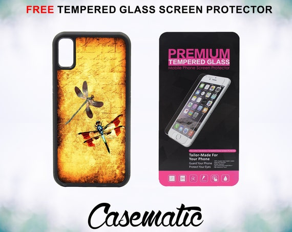Dragonfly Dragonflies Vintage iPhone Case for iPhone XR XS Max X 8 Plus 8 7 Plus 7 6 Plus 6 6s SE 5S 5c 4 4s Tempered Glass Screen Protector