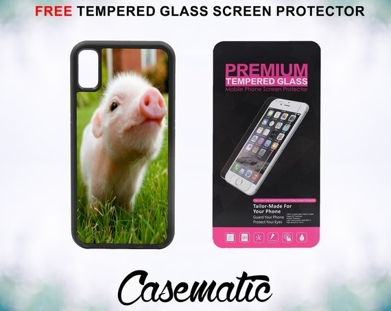 Cute Piglett Baby Pig iPhone Case for iPhone XR XS Max X 8 Plus 8 7 Plus 7 6 Plus 6 6s SE 5S 5c 4 4s Free Tempered Glass Screen Protector