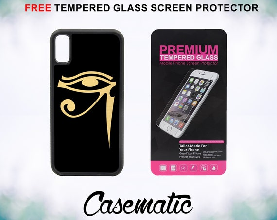 Gold Eye of Horus iPhone Case for iPhone XR XS Max X 8 Plus 8 7 Plus 7 6 Plus 6 6s SE 5S 5c 4 4s Free Tempered Glass Screen Protector Egypt