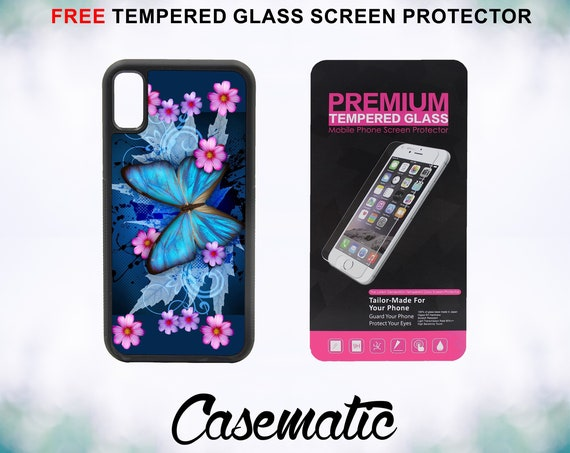 Blue Butterfly Hybrid iPhone Case for iPhone XR XS Max X 8 Plus 8 7 Plus 7 6 Plus 6 6s SE 5S 5c 4 4s Free Tempered Glass Screen Protector