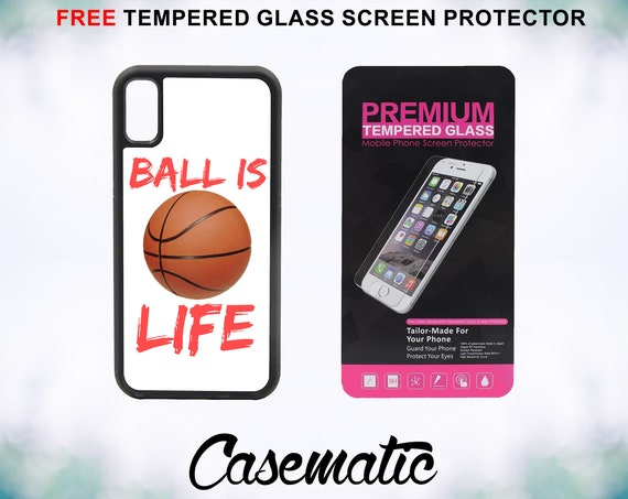 Ball is Life  iPhone Case for iPhone XR XS Max X 8 Plus 8 7 Plus 7 6 Plus 6 6s SE 5S 5c 4 Tempered Glass Screen Protector Basketball Sports